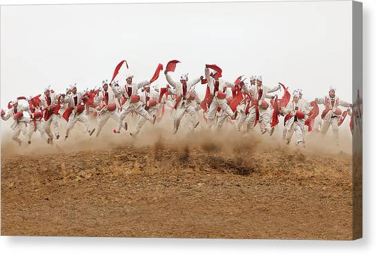 Drums Canvas Print - The Ansai Waist Drum Dance by Bj Yang