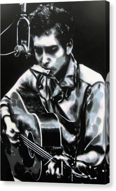 Bob Dylan Canvas Print - The Answer My Friend Is Blowin In The Wind by Luis Ludzska