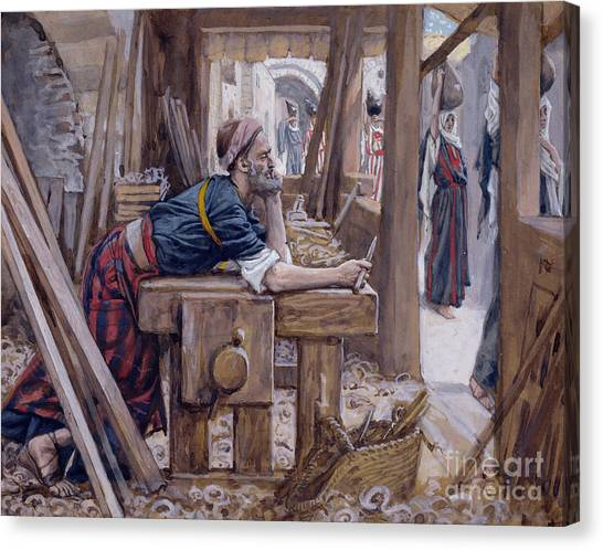 Anxious Canvas Print - The Anxiety Of Saint Joseph by James Jacques Joseph Tissot