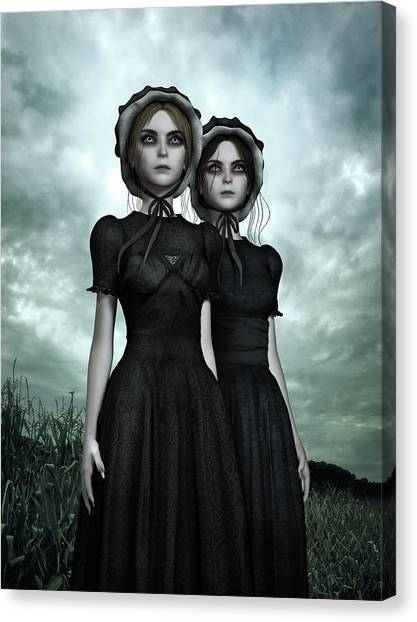 Creepy Canvas Print - They Are Coming - The Halloween Twins by Britta Glodde