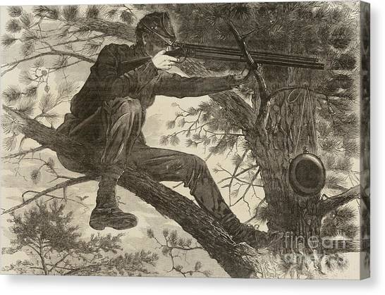 Army Of The Potomac Canvas Print - The Army Of The Potomac  A Sharpshooter by Winslow Homer