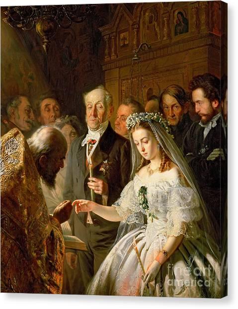 Wedding Gown Canvas Print - The Arranged Marriage, 1862 by Vasili Vladimirovits Pukirev