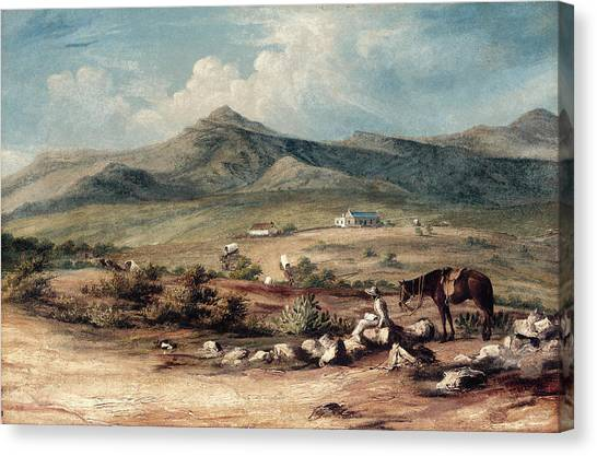 Thomas The Train Canvas Print - The Artist And His Mount Overlooking A Valley In The Eastern Cape by Thomas Baines