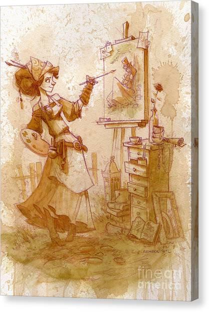 Steampunk Canvas Print - The Artist by Brian Kesinger