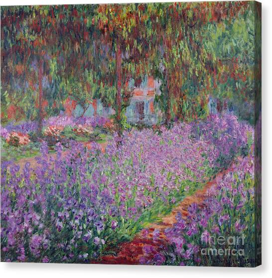 Impressionist Canvas Print - The Artists Garden At Giverny by Claude Monet
