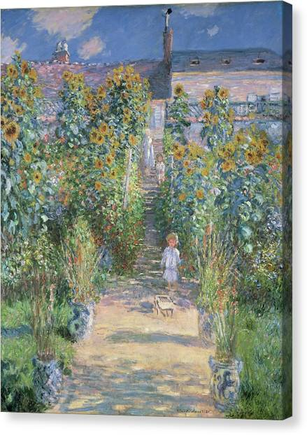 Canvas Print - The Artists Garden At Vetheuil by Claude Monet