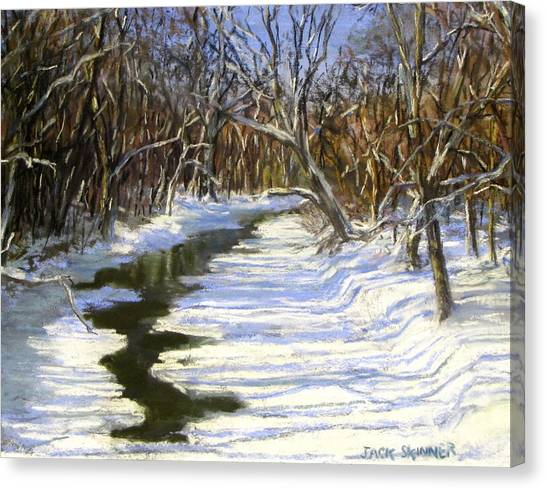 The Assabet River In Winter Canvas Print