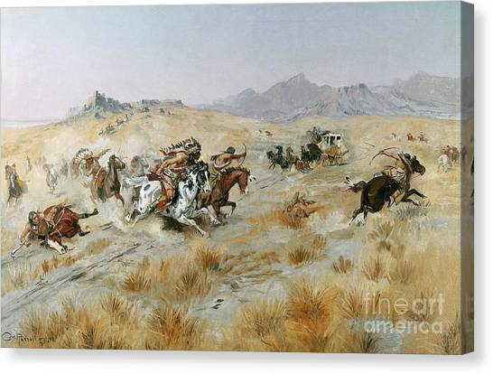 Watercolor Canvas Print - The Attack by Charles Marion Russell