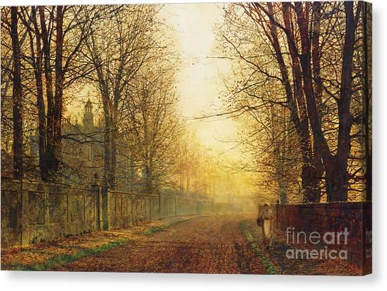 Fallen Leaf Canvas Print - The Autumn's Golden Glory by John Atkinson Grimshaw