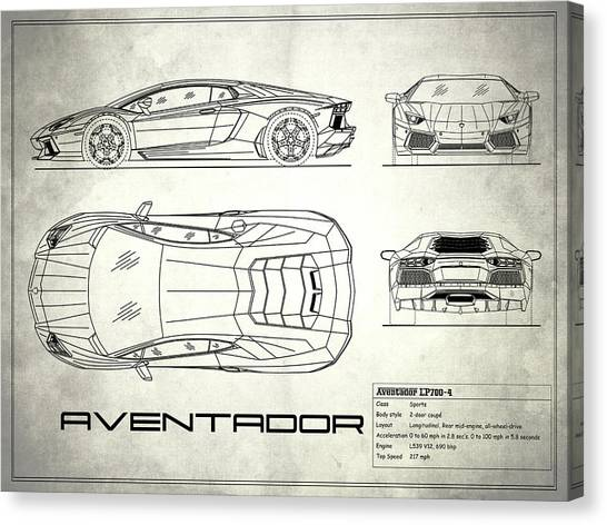Car blueprint canvas prints page 6 of 25 fine art america car blueprint canvas print the aventador blueprint white by mark rogan malvernweather Gallery
