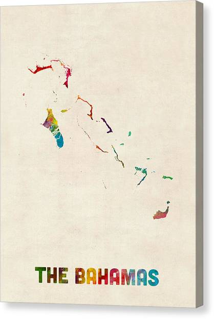 Bahamas Canvas Print - The Bahamas Watercolor Map by Michael Tompsett