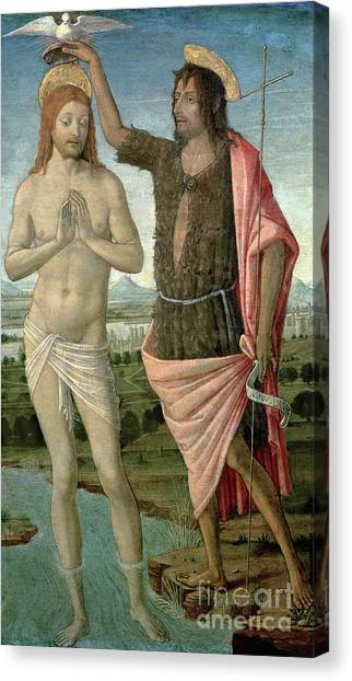 River Jordan Canvas Print - The Baptism Of Christ, 1486 by Guidoccio di Giovanno Cozzarelli