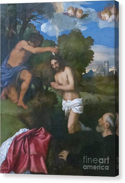 River Jordan Canvas Print - The Baptism Of Christ, Circa 1512 by Titian