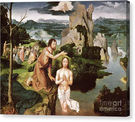 River Jordan Canvas Print - The Baptism Of Christ, Circa 1515 by Joachim Patinir