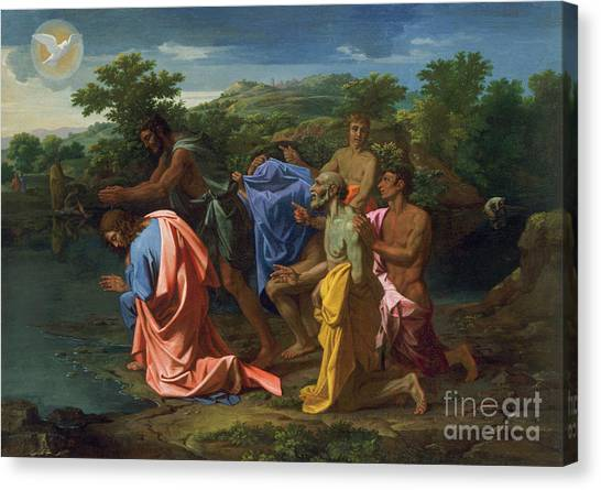 River Jordan Canvas Print - The Baptism Of Christ, Circa 1658 by Nicolas Poussin