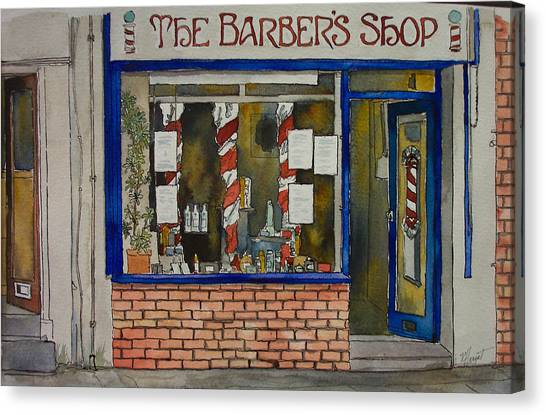 The Barber Shop Canvas Print by Victoria Heryet