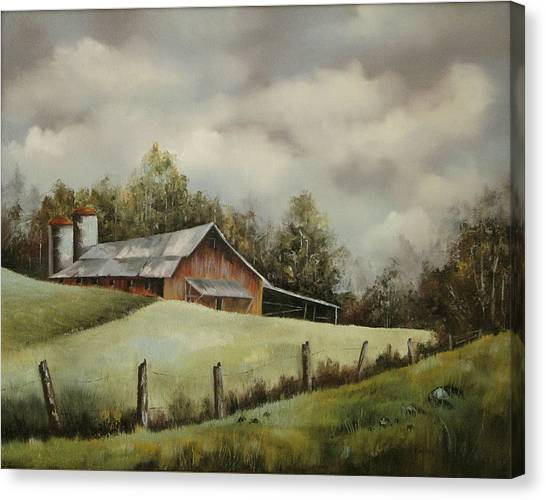 The Barn And The Sky Canvas Print
