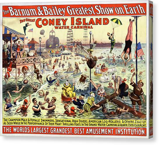 The Barnum And Bailey Greatest Show On Earth The Great Coney Island Water Carnival Canvas Print