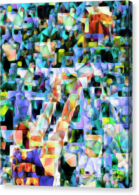 Stephen Curry Canvas Print - The Basketball Jump Shot In Abstract Cubism 20170328 by Wingsdomain Art and Photography