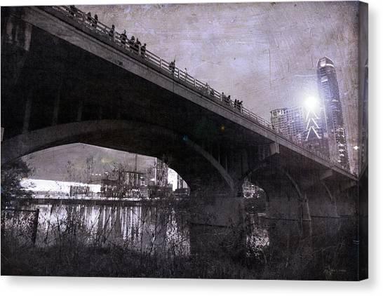 Haunted House Canvas Print - The Bat Bridge Night Austin Texas by Betsy Knapp