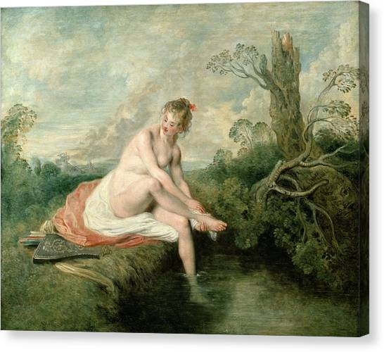 Artemis Canvas Print - The Bath Of Diana by Jean Antoine Watteau