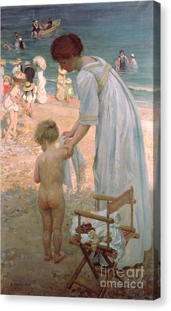 Nude Mom Canvas Print - The Bathing Hour  by Emmanuel Phillips Fox