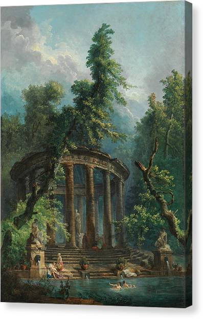 Canvas Print featuring the painting The Bathing Pool by Hubert Robert