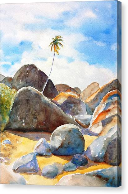 The Baths Palm Tree Canvas Print