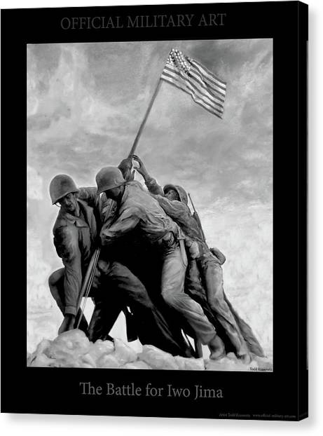 Todd Krasovetz Canvas Print - The Battle For Iwo Jima By Todd Krasovetz by Todd Krasovetz