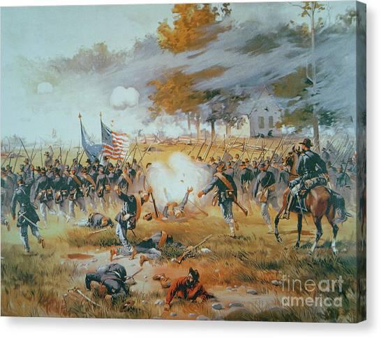 Maryland Horses Canvas Print - The Battle Of Antietam by Thure de Thulstrup