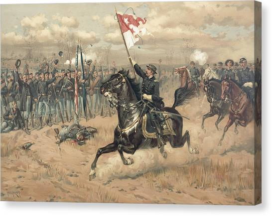 Confederate Army Canvas Print - The Battle Of Cedar Creek Virginia by Thure de Thulstrup