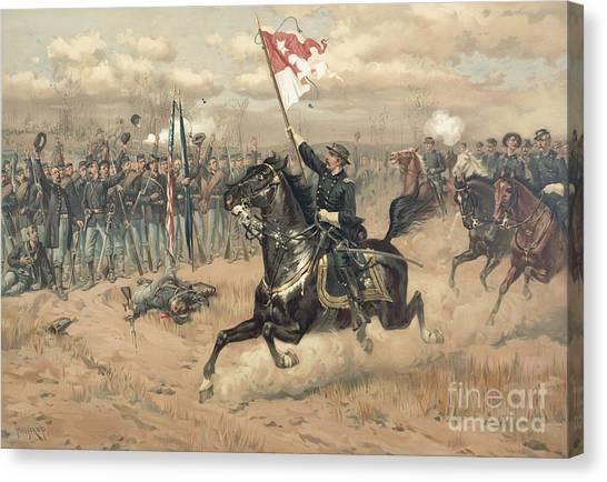 Shenandoah Canvas Print - The Battle Of Cedar Creek Virginia by Thure de Thulstrup