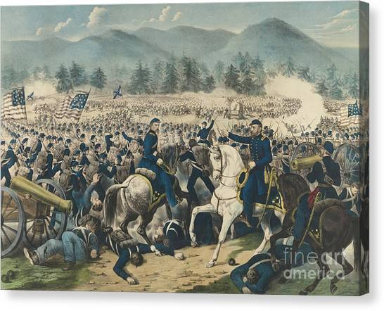 Army Of The Potomac Canvas Print - The Battle Of Gettysburg by Currier and Ives