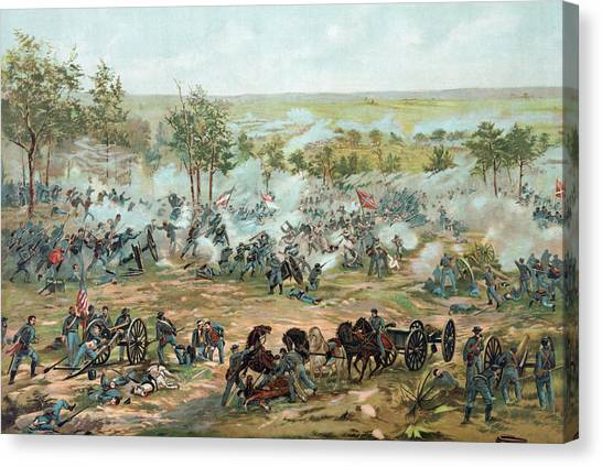 Confederate Army Canvas Print - The Battle Of Gettysburg by Paul Dominique Philippoteaux