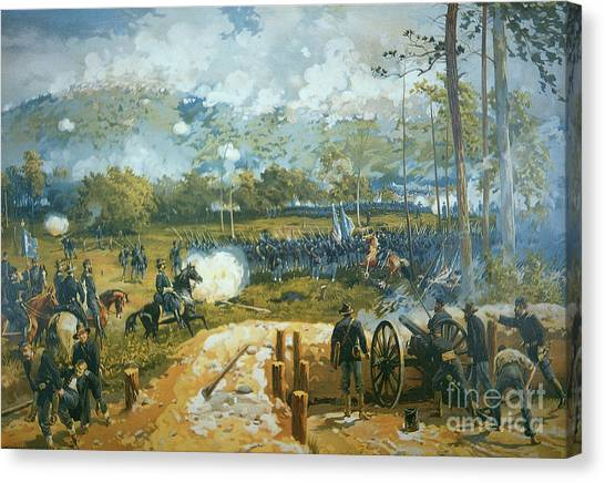 Confederate Army Canvas Print - The Battle Of Kenesaw Mountain by American School