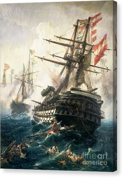 Empire Canvas Print - The Battle Of Lissa by Constantin Volonakis