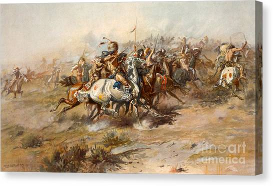 Native American War Horse Canvas Print - The Battle Of Little Bighorn by Charles Marion Russell