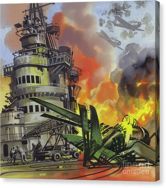 Wii Canvas Print -  The Battle Of Midway by Ron Embleton