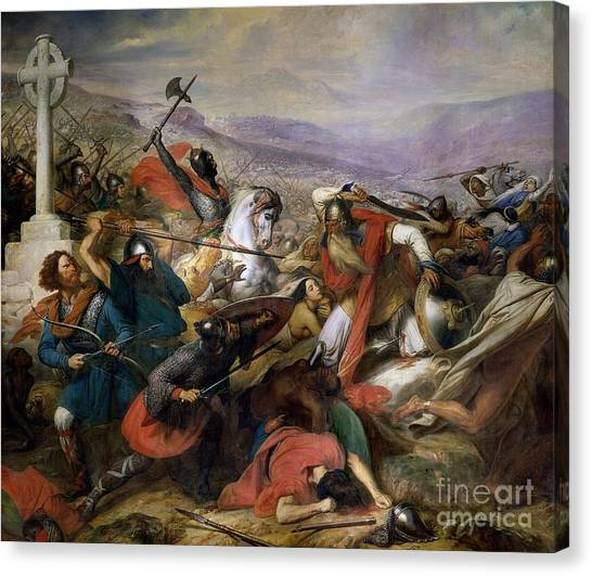 Religious Canvas Print - The Battle Of Poitiers by Charles Auguste Steuben