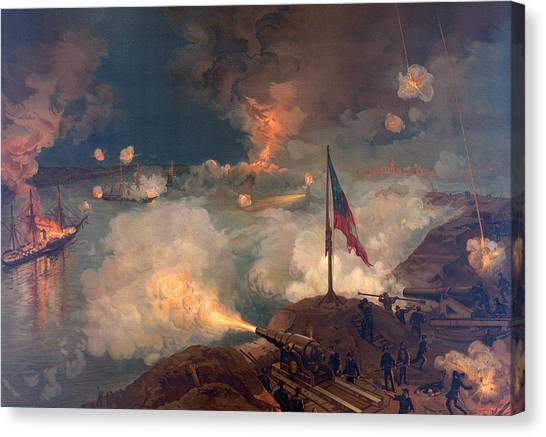 Mississippi River Canvas Print - The Battle Of Port Hudson, 1863  by American School