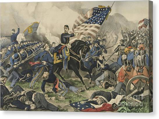 Army Of The Potomac Canvas Print - The Battle Of Williamsburg, Virginia On May 5th 1862 by Currier and Ives