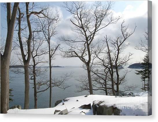 The Bay In Winter Canvas Print by Faith Harron Boudreau