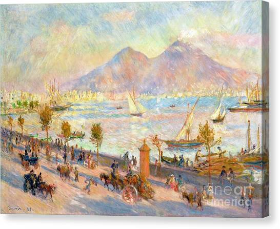 Mount Vesuvius Canvas Print - The Bay Of Naples With Vesuvius In The Background by Pierre Auguste Renoir