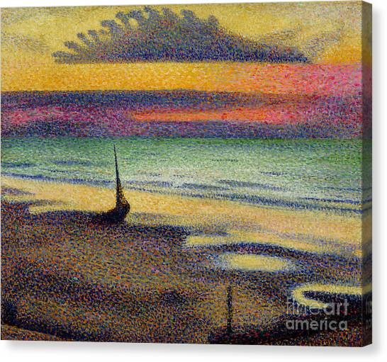 Impressionist Canvas Print - The Beach At Heist by Georges Lemmen