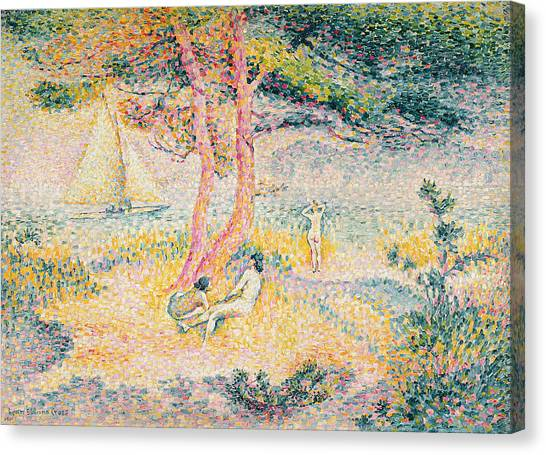 Pointillism Canvas Print - The Beach At St Clair by Henri-Edmond Cross