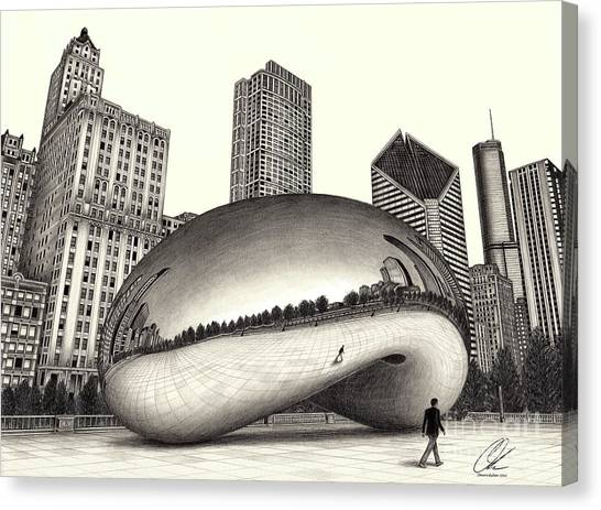 The Beach Chicago Drawing Canvas Print