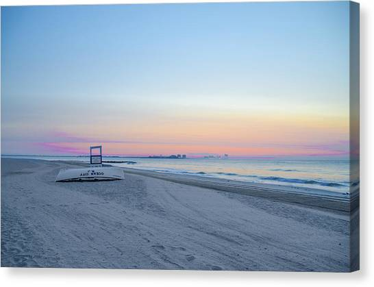 City Sunrises Canvas Print - The Beach In Ocean City At Sunrise by Bill Cannon