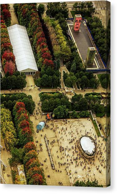 Cloudgate Canvas Print - The Bean From Above by Andrew Soundarajan
