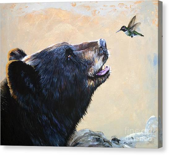 Bears Canvas Print - The Bear And The Hummingbird by J W Baker