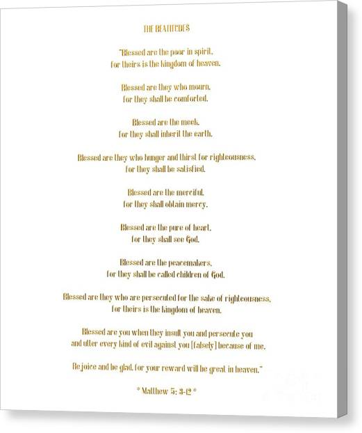 Canvas Print featuring the digital art The Beatitudes Gospel Of Matthew by Rose Santuci-Sofranko